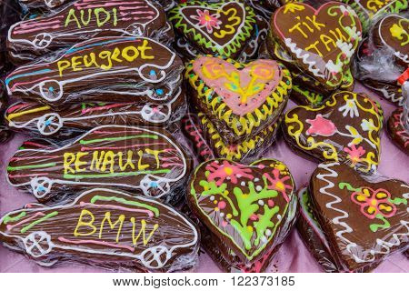 Vilnius, Lithuania - March 5: beautiful bright gingerbread at the trade fair of kazukas, in March 5, 2016, in Vilnius, Lithuania.