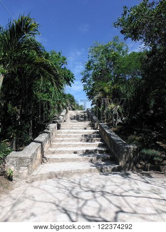 A staircase in the large Mayan archeological site on the coastal city of Tulum Mexico.