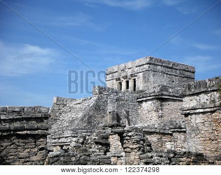 The grey stone complexes of the archeological Mayan site of Tulum Yucatán Peninsula Mexico.