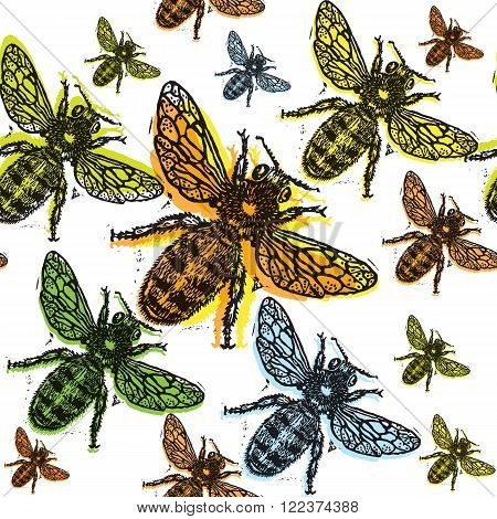 Colorful engraved bee on black background. Engraved pattern