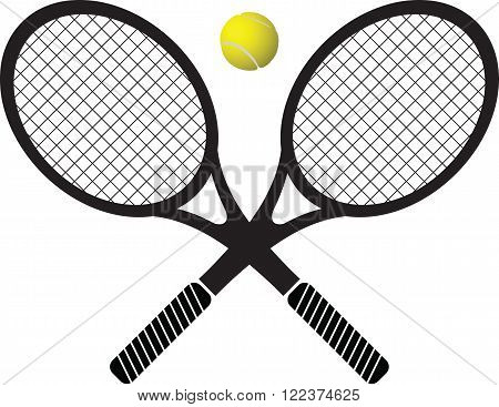tennis rackets and ball b&w and color vector illustration