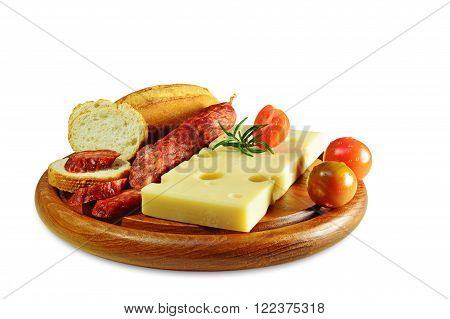 Emmental cheese and chorizo pork sausage on wooden board isolated.