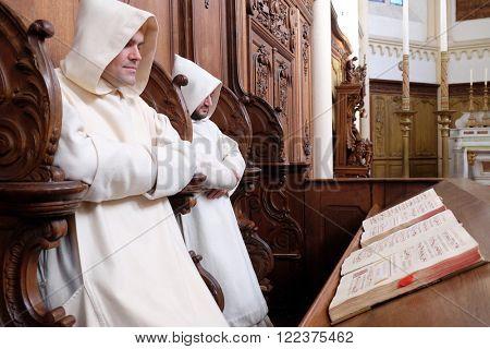 PLETERJE, SLOVENIA - NOVEMBER 06: Carthusians Monks praying in church in the Carthusian monastery in Pleterje, Slovenia on November 06, 2015.