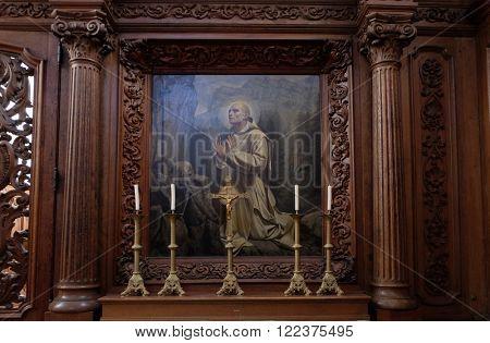 PLETERJE, SLOVENIA - NOVEMBER 06: Saint Bruno of Cologne founder of the Carthusian Order, Carthusian monastery in Pleterje, Slovenia on November 06, 2015.
