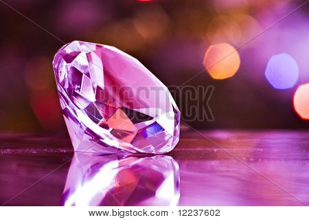 diamond in purple light with clipping path