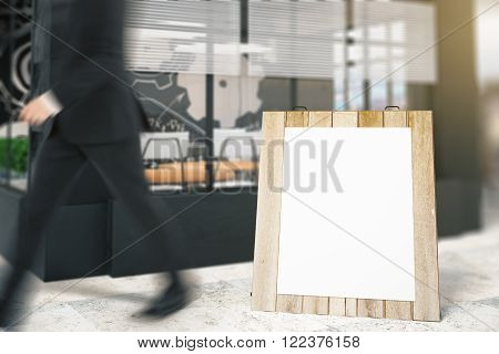 Square stopper standing outside building and a passing by businessman. Mock up 3D Render