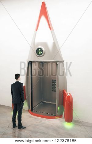 Success concept with thinking businessman in front of rocket elevator. Sideview 3D Render