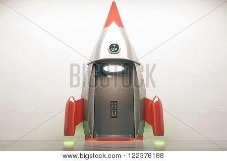Success concept with open rocket elevator on concrete wall. 3D Render