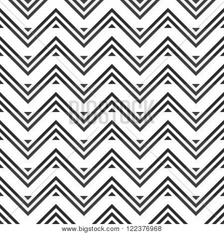 Abstract seamless pattern of gray zigzag on white background. Optical illusion of horizontal stripes. Stylish graphic print. Vector illustration for modern creative design