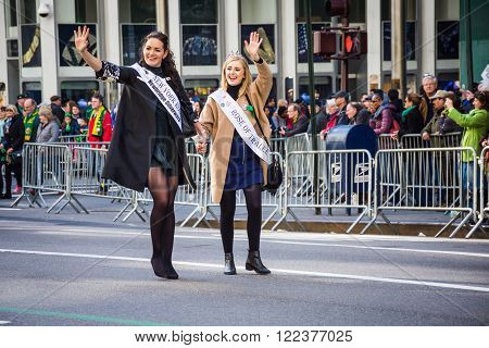 NEW YORK-MARCH 17-The The beautiful Rose of Tralee women march in the St Patrick's Day Parade on March 17 2016 in New York City.