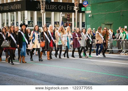 NEW YORK-MARCH 17-The The various lovely Irish Rose ladies march in the St Patrick's Day Parade on March 17 2016 in New York City.