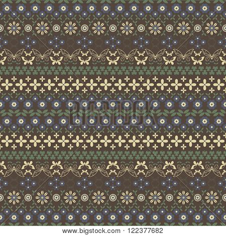 Seamless summer pattern in brown, yellow, blue, green colors. Horizontal chains of flowers twining stems leaves butterflies and trifoliate clovers forming beautiful ornament. Vector illustration