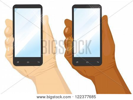 hand of caucasian and african american man holding black vertical smartphone isolated on white background