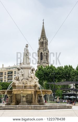 NIMES FRANCE - MAY 04 2015: Saint Perpetue church of Nimes. Nimes is a famous and very popular among tourists city in Provence in south of France