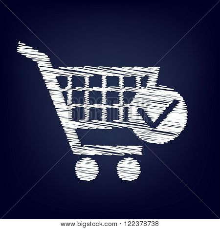 Shopping Cart and Check Mark Icon. Chalk effect on blue background