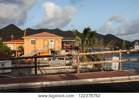 MARIGOT, ST.MARTIN - JULY 31:  The Bridge grill cafe near bridge in Marigot in July 31, 2015 in St.Maarten, Caribbean Island.