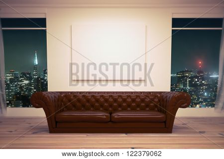 Luxurious sofa with a blank canvas over in room interior with night city view. Mock up 3d Render