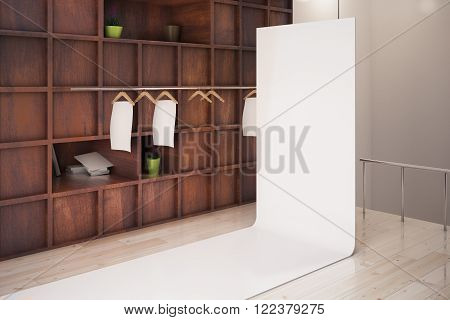 Wooden showcase and blank poster in store interior. Mock up 3D Render