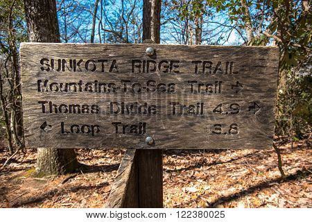 Sunkota Ridge Trail Sign Straight On in Great Smoky Mountains National Park