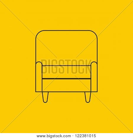 Vector illustration of armchair in flat outline icons set