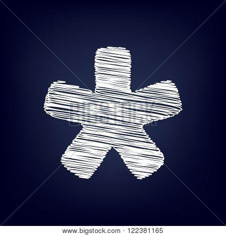 Asterisk star sign. Chalk effect on blue background