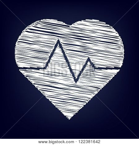 Heartbeat sign. Chalk effect on blue background