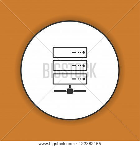 Computer Server icon flat design. Vector EPS 10