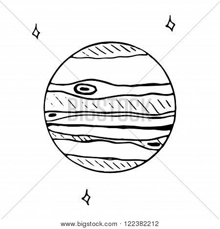 Vector doodle icon of Jupiter isolated. hand drawn sketch illustration