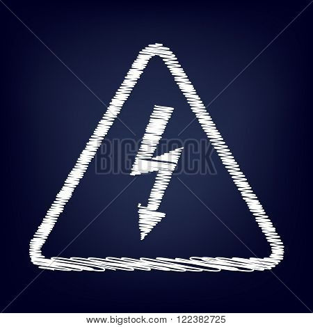 High voltage danger sign. Chalk effect on blue background