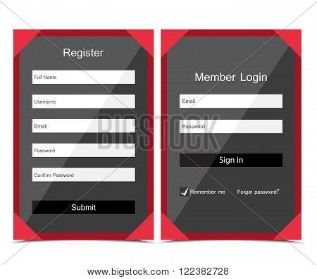 Vector Registration and login form, flat UI design