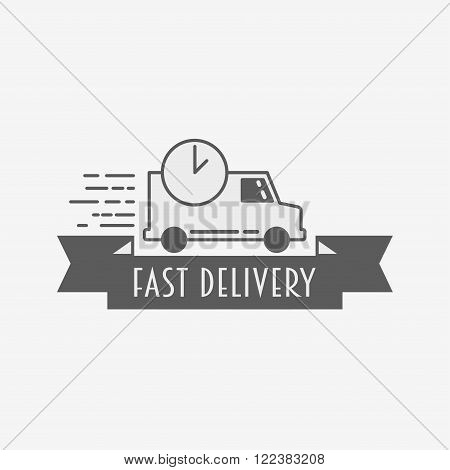 Express Delivery Icon, Logo Template. Fast Delivery Car With Watch.