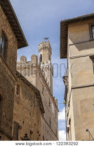 Volterra, bell tower Palazzo Pretorio, Tuscany, Italy, Europe
