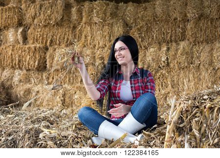 Happy Country Woman On The Straw