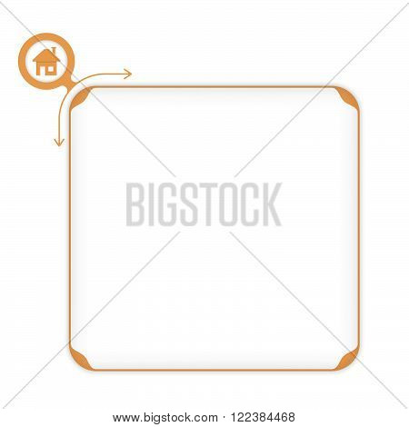 Vector ocher box to fill your text and home symbol