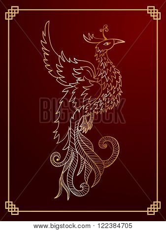 Chinese traditional red phoenix. Feng Shui symbolize fire element.
