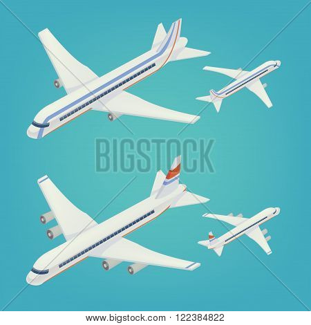 Passenger Airplane. Passenger Airliner. Airplane freight. Isometric Concept. Transportation Mode. Aircraft Vehicle. Set of Planes. Vector illustration