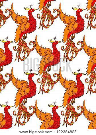 Red phoenix seamless pattern. Feng Shui bird background
