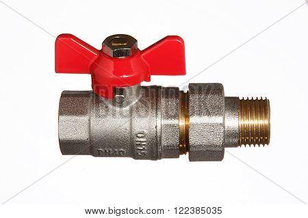 Ball valve for pipeline on white background