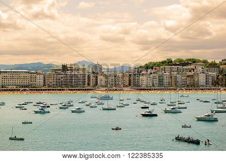 SAN SEBASTIAN, SPAIN JULY 12, 2015, view of the beach