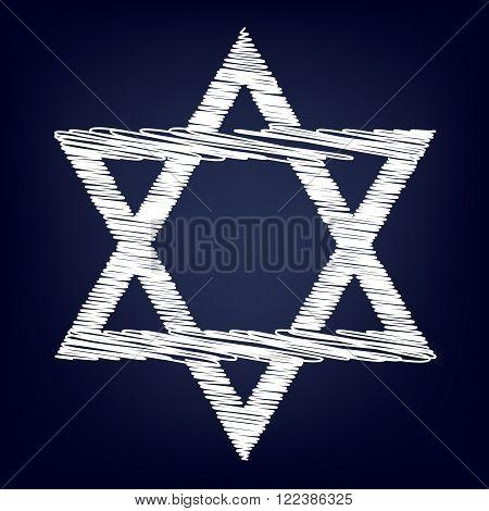 Star. Shield Magen David. Symbol of Israel. Chalk effect on blue background