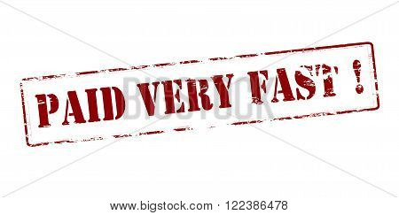 Rubber stamp with text paid very fast inside vector illustration
