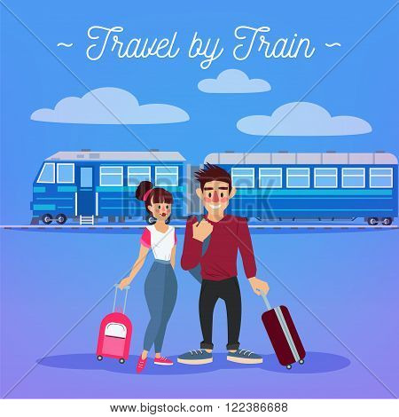 Train Travel. Travel Banner. Tourism Industry. Active People. Girl with Baggage. Man with Baggage. Happy Couple. Vector illustration. Flat Style