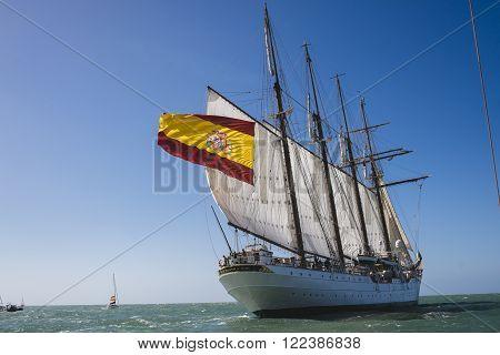 CADIZ SPAIN - MAR 05: Spanish Navy Juan Sebastian de Elcano begins its 87th training cruise from the port of Cadiz. on March 05 2016 in Cadiz Spain