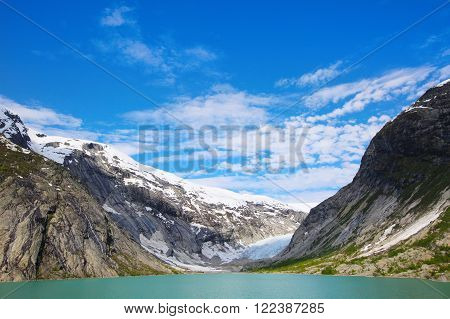 View at Nigardsbreen Glacier in Jostedalsbreen National Park, Norway