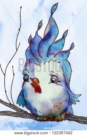 Cute blue bird sits on autumn branch