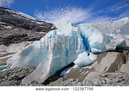 Close-up view at Nigardsbreen Glacier in Jostedalsbreen National Park, Norway