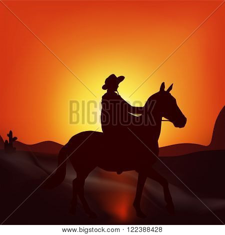 Cowboy on sunset background. Stylish vector poster wild West ,  adventure, horse riding, seclusion and loneliness, cowboy. Modern flat design.