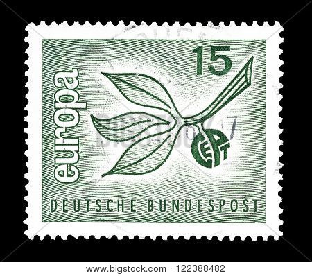GERMANY - CIRCA 1965 : Cancelled postage stamp printed by Germany, that shows CEPT stamp.
