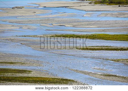 Shallow glacial river with colorful moss, Norway