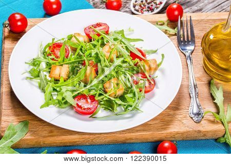 Fresh low-calories salad with chicken breast close-up
